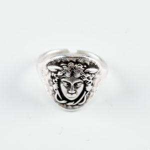 Silver Ring Medusa Face