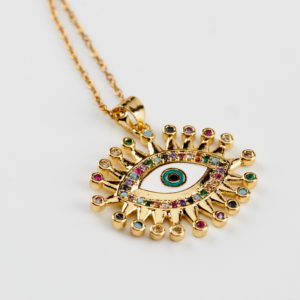 eyes and gems necklace gold
