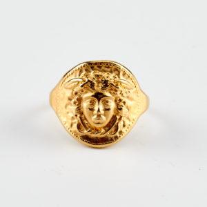gold medusa ring face
