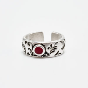 blossom silver ring with red detail
