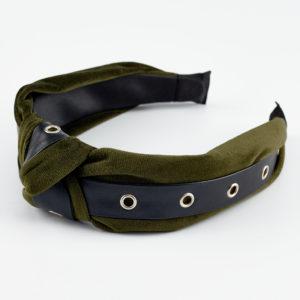 olia velvet olive green headband by mond jewels