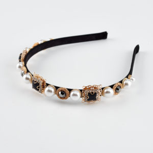 Victoria black pearls headband hair accessories by mond jewels