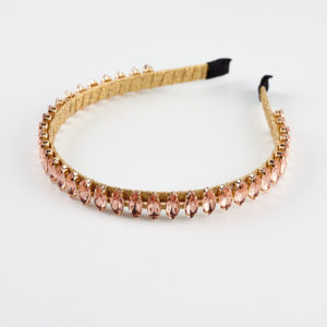 queen m headband by mond jewels in pink gold colour