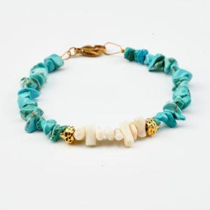 Βραχιόλι με τυρκουάζ πέτρες και κοράλλια