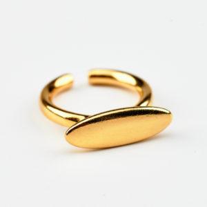 Γυναικείο επίχρυσο δαχτυλίδι οβαλ