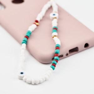 Κρεμαστό κινητού λευκές χάντρες