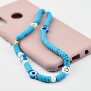 κορδόνι κινητού τυρκουάζ χάντρες
