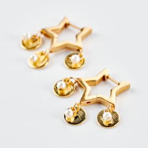 Αστέρια κρίκοι σκουλαρίκια χρυσά