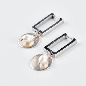Γεωμετρικά σκουλαρίκια κρίκοι ασημί