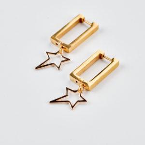 Σκουλαρίκια τετράγωνοι κρίκοι