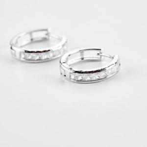 Σκουλαρίκια κρίκοι με πέτρες ζιργκόν