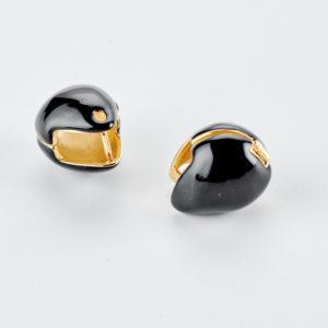 Μαύρα σκουλαρίκια με σμάλτο