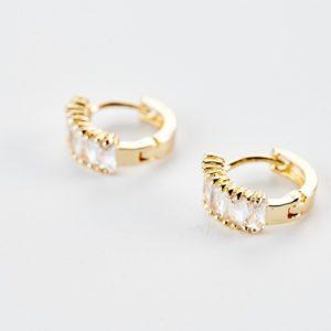 Χρυσά σκουλαρίκια κρίκοι με ζιργκόν